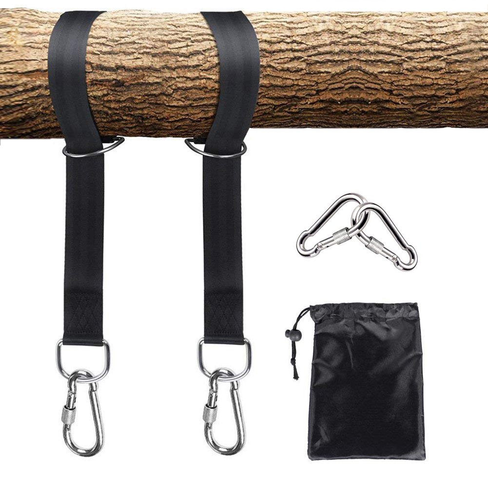 Aieve Hammock Tree Straps,2 Pack 5ft Portable Heavy Duty Hammock Straps with Carabiner D Rings Hooks Carrying Bag Outdoor Tree Straps for Swing Camping Hammock,Black
