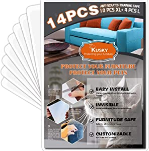 KUSKY Furniture Protectors from Cats,14 Pack Cat Scratch Deterrent Tape,10 PCS 18