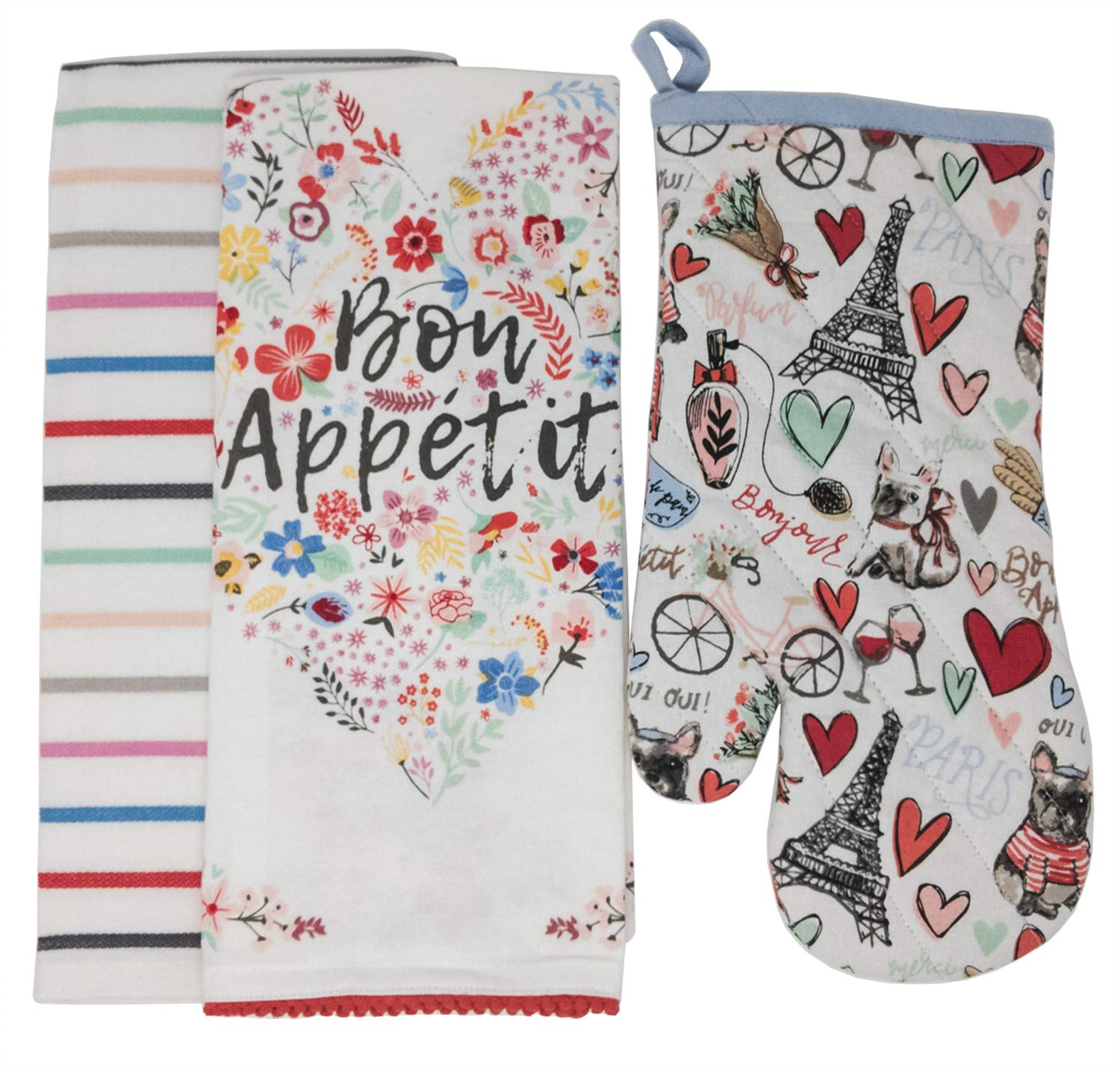 Design Imports DII Bon Appetit Fleur Dishtowel Set of 2 Bundle with Paris Springtime Oven Mitt