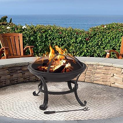 Amazon.com: Fuego Pit de 22.0 in redondo chimenea metal ...