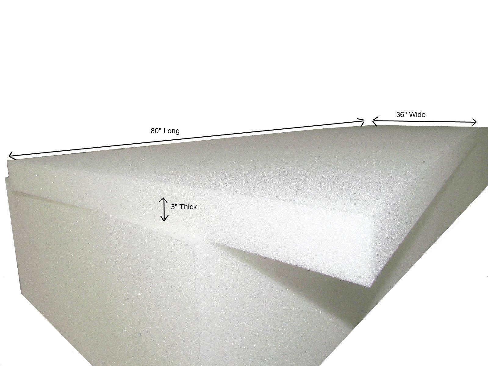 Foam Cushion 3''T x 36''W x 80''L (1536) ''Medium Firm'' Seat Replacement,Sheet Foam,Foam Padding by Isellfoam