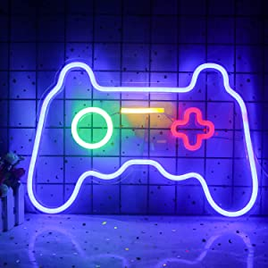 Wanxing Game Neon Sign Gamepad Controller Neon Signs Gaming Wall Lights Decor for Game Room Blue Gamer Console Neon Lights for Children Cool Game Room Interior Decoration 16''x11''