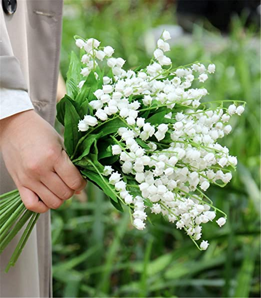 Amazon Com Skyseen 12pcs Artificial Lily Of The Valley Stems Convallaria Majalis Flower For Wedding Bouquet Home Kitchen