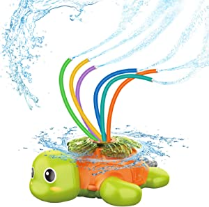 TROJOY Sprinkler for Kids and Toddler, Sprinklers for Yard Kids Outdoor Water Toys Gifts for 3 4 5 Year Old Boys Girls Backyard Splash Water Play Outside Summer Activities - High-Attach to Garden Hose