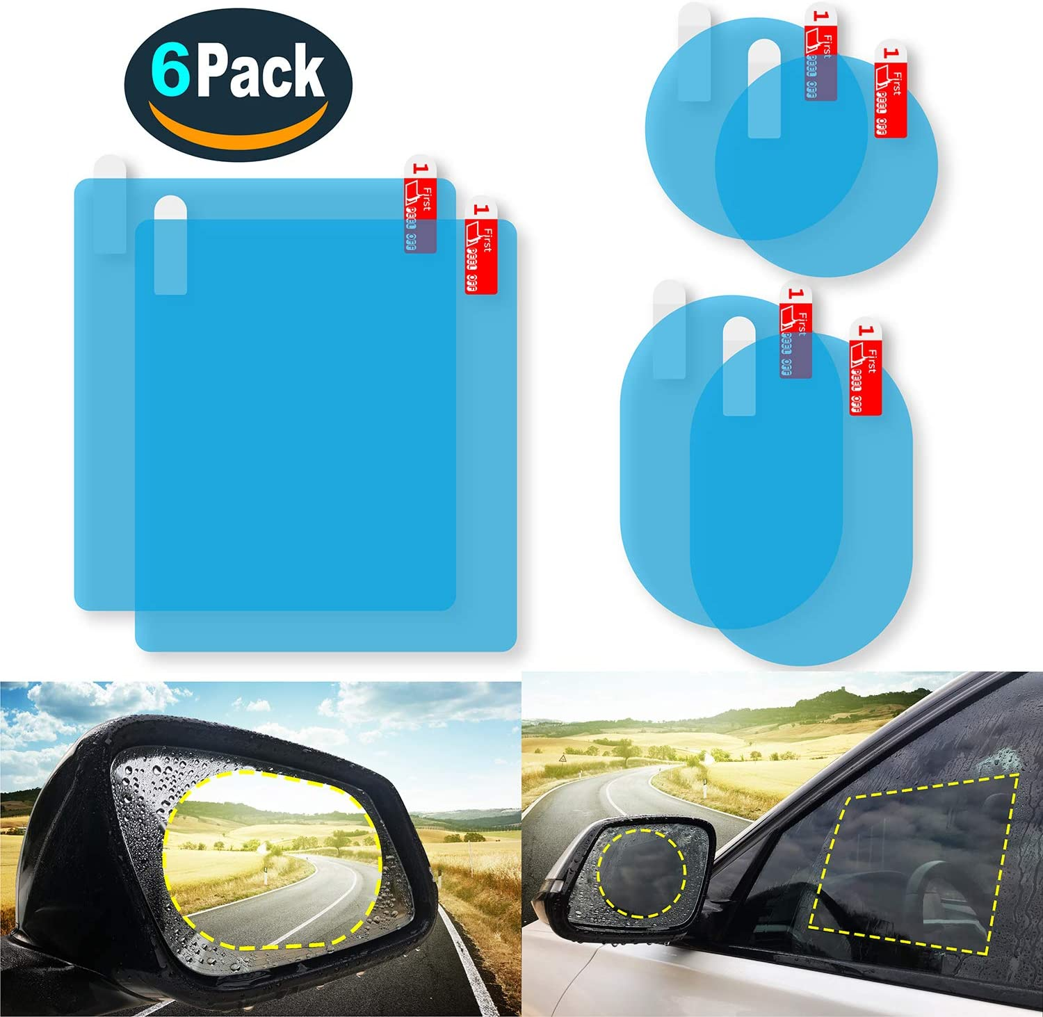 6PCS Car Rearview Mirror Waterproof Film,Car Side View Mirror flim,Nano Film Anti Fog Glare Mirror Window Rainproof Film,Clear Protective Film for Car Mirrors and Side Windows ensure Drive Safely