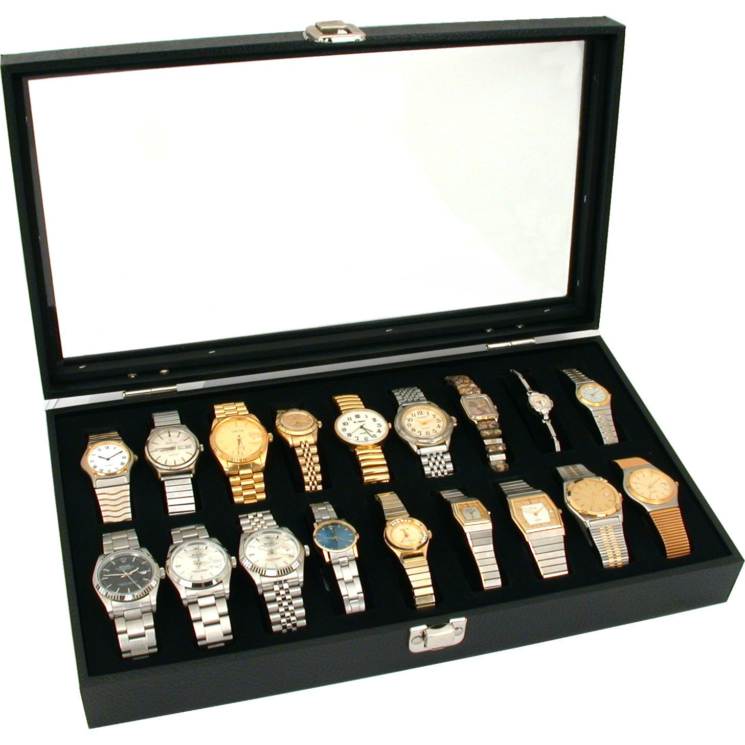 18pc Black Watch Travel Tray Showcase Display Case Unit W/ Plexi plastic Top