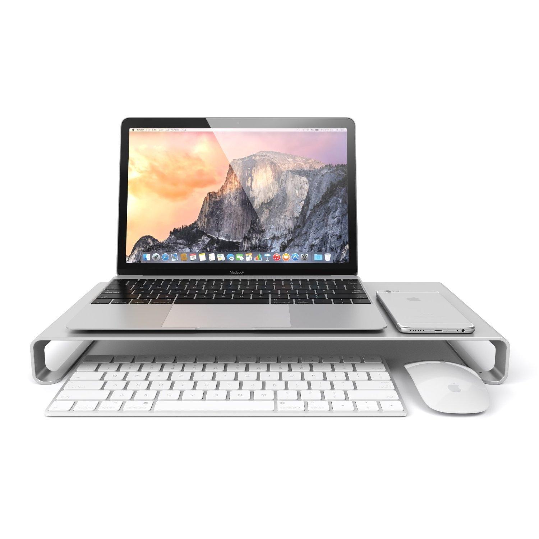 Eplze Supporto del monitor Lega di alluminio - Mensola Riser Laptop - Schermo iMac Macbook del computer desktop stare in piedi, Universale alluminio Unibody Stand Monitor / Laptop / iMac / PC (piccolo: 40 * 21 * 4.4) E-stand00