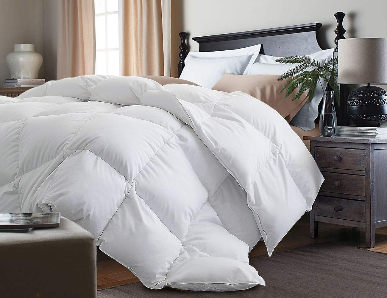Kathy Ireland White Feather Goose Down Comforter-All Season Warmth, King