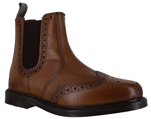 bebe2328713 Catesby Mens Pull On Leather Wing Tip Dealer Chelsea Brogues Boots Brown