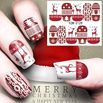 Amazon 1 Set Red Reindeer Nail Art Sticker Deer Tattoo