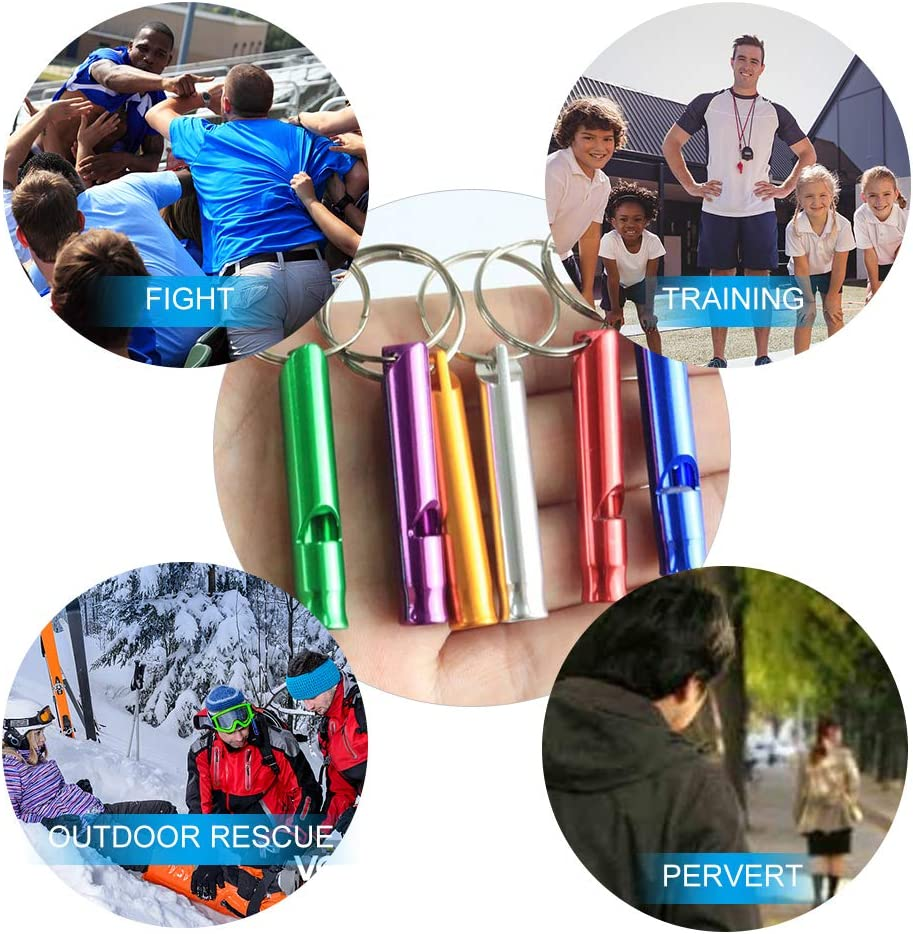 14pcs 45x8mm Emergency Survival Whistles with Key Ring Chain for Sport Referee Hiking Camping Climbing Pet Training No branded MHwan Metal Whistle Whistles Sports