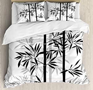 Ambesonne Tree of Life Duvet Cover Set, Silhouette of Bamboo Tree Leaves Japanese Feng Shui Boho Image, Decorative 3 Piece Bedding Set with 2 Pillow Shams, Queen Size, White Black