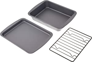 G & S Metal Products Company OvenStuff 3-Piece Toaster Oven Value Set Includes Personal Sized Baking, Cookie Sheet Pan, and Roasting Rack, medium, Gray