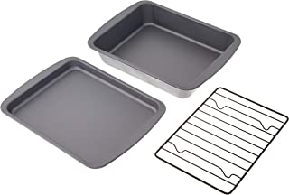 product image for G & S Metal Products Company OvenStuff 3-Piece Toaster Oven Value Set Includes Personal Sized Baking, Cookie Sheet Pan, and Roasting Rack, medium, Gray