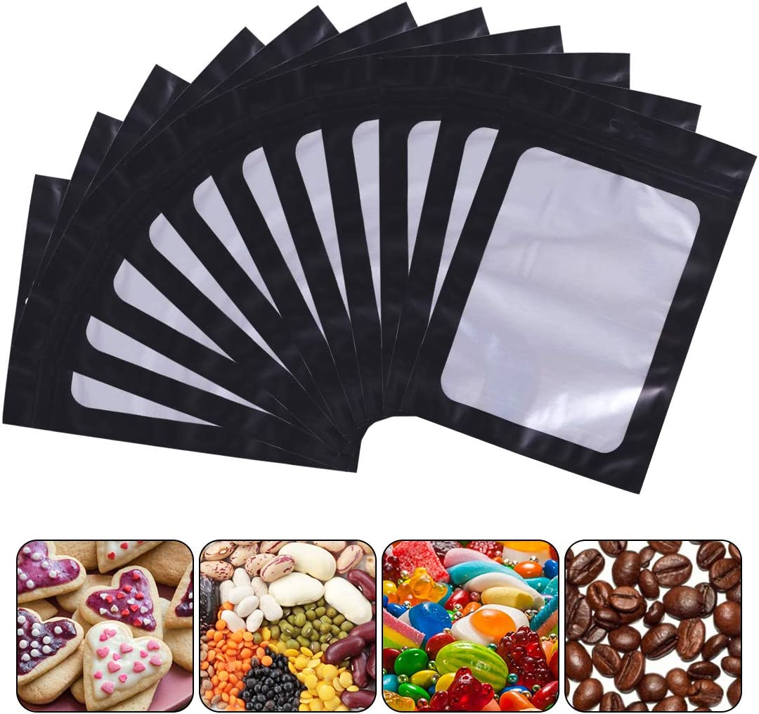 100 Pieces Resealable Smell Proof Bags Foil Pouch Bag Flat Ziplock Food Storage Bags with Clear Window Packaging Pouch Bag for Candies Cookies Eyelash Jewelry Electronics (Black, 3 x 4.7 Inch)