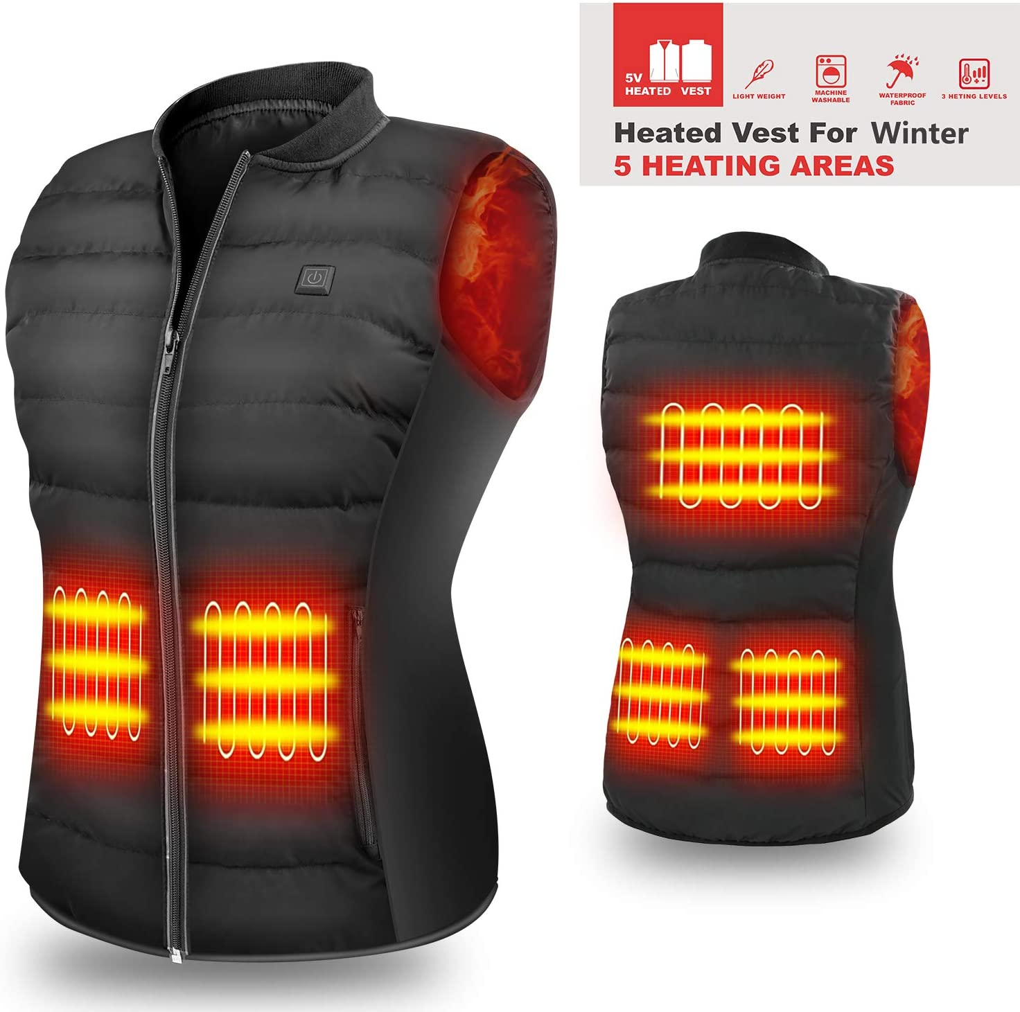 HOOCUCO 5V Heated Vest(Power Bank Need Purchase Separately), Size Adjustable USB Charging,3 Temp Setting Heating Warm Vest for Outdoor Camping Hiking Golf Rechargeable Heated Clothes Warm for Men WOM