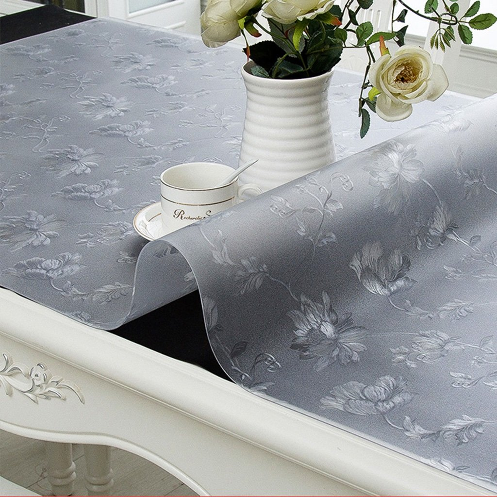 4060cm Gtt Soft glass Transparent Tablecloths PVC Coffee cover cloth towel geometry pattern plant flowers waterproof Antifouling Mold elegant (Size   40  60cm)