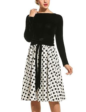 4285bba32a571 eshion Women Vintage Long Sleeve Velvet Polka Dot Patchwork A-line ...