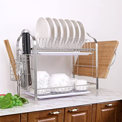 Amazon.com - okdeals 2 Tier Stainless Steel Dish Drying Rack With ...