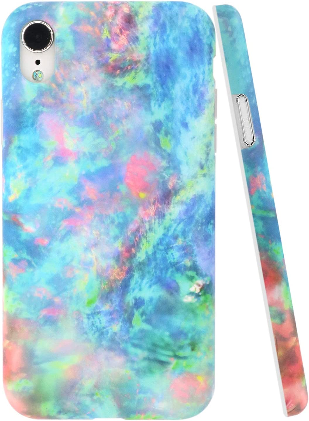 A-Focus Case for iPhone XR Case Colorful, Green Blue Opal Marble Texture Smooth IMD Design Series Flexible TPU Rubber Cover Case for iPhone XR 2018 Release 6.1 inch Matte Green