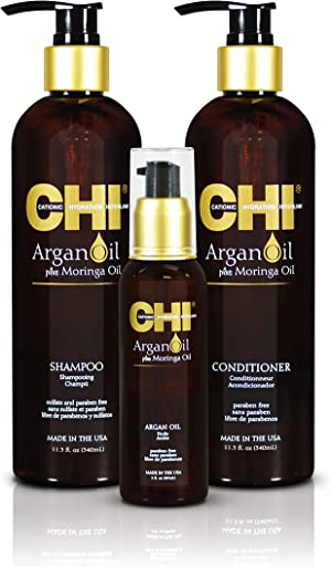 CHI Argan Oil plus Moringa Oil Luxe Trio Kit with Shampoo, Conditioner and Moringa Oil (Set of 3), 11 fl. oz.