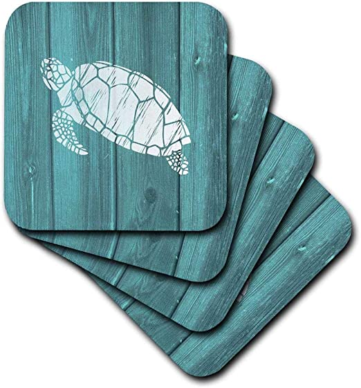 4-inch 3dRose Turtle Stencil in White Over Teal Weatherboard-not Real Wood-Ceramic Tile ct/_220428/_1 Multicolor