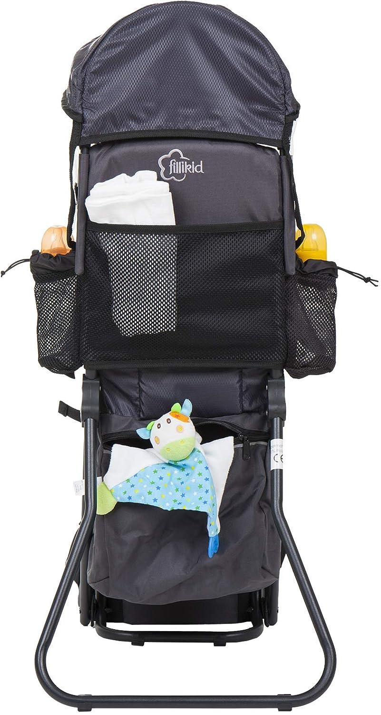 R/ücken Babytrage mit Sonnenschutz /& gro/ßen Stauf/ächern Kraxe zum Wandern mit Baby und Kleinkind Fillikid Babytrage R/ückentrage Exclusiv Design:grau Tragesitz bis 20 kg