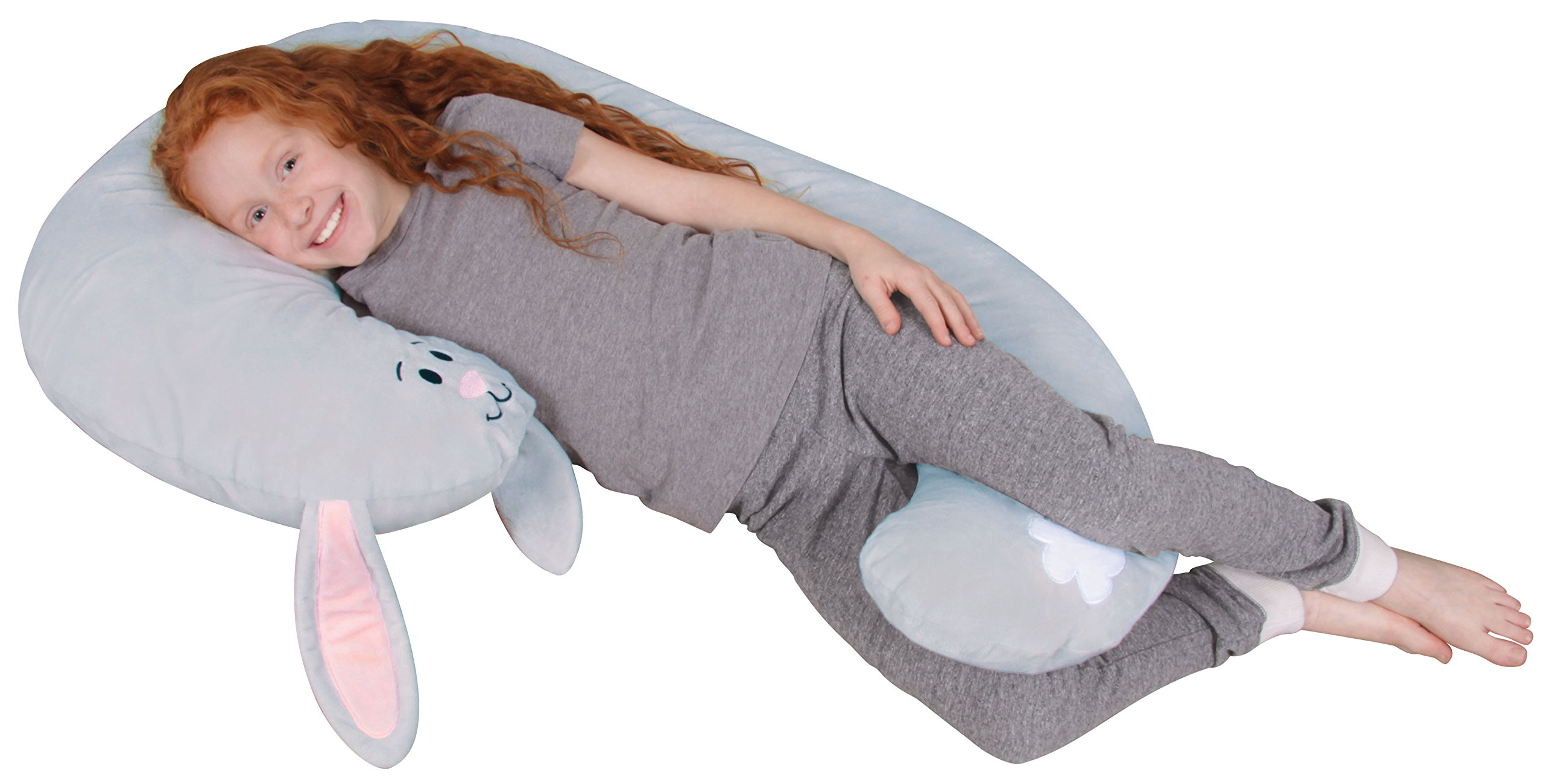 Leachco Snoogle Jr. - Luxuriously Soft Plush Bunny with Zippered Removable Cover - The Snuggle, Cuddle, Animal Body Pillow for Kids