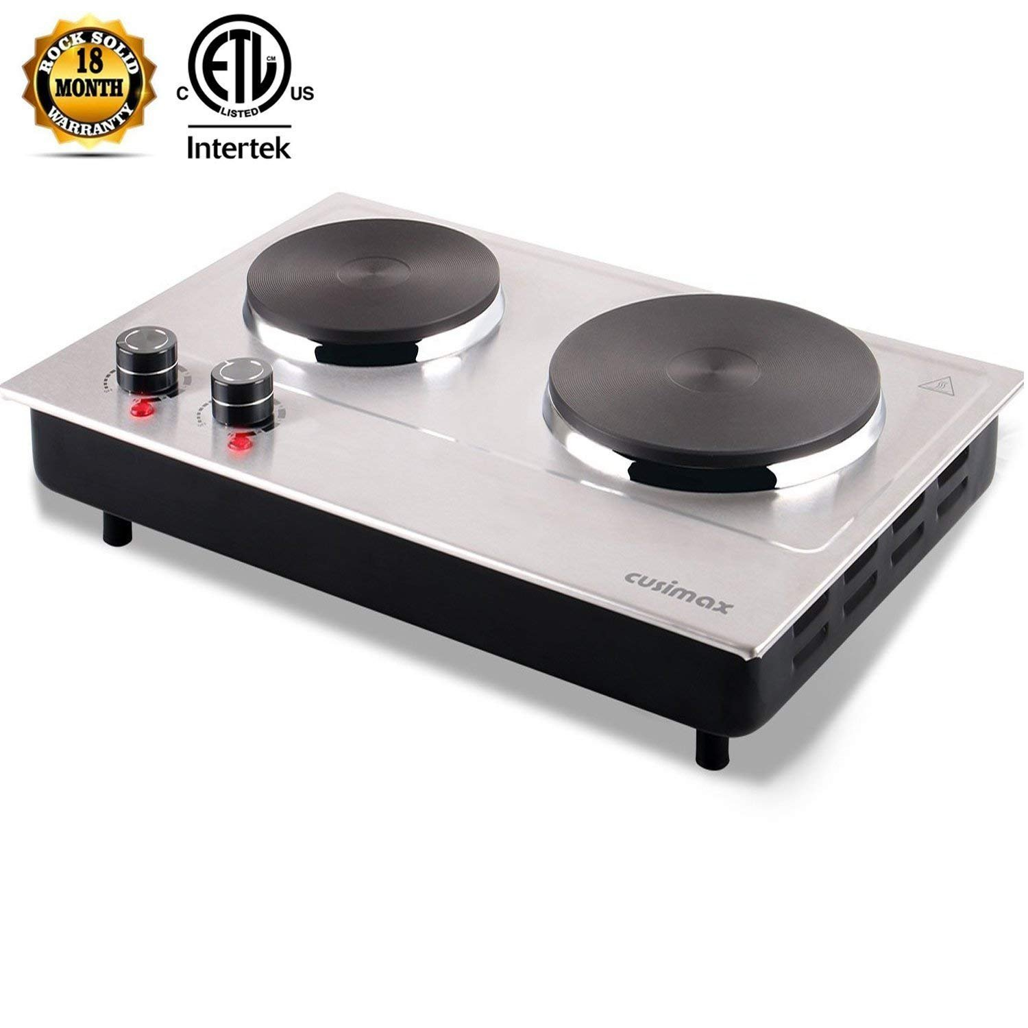 Cusimax 1800W Hot Plate for Cooking Electric - Double Electric Burner - Stainless Electric Stove - Upgraded - CMHP-C180N