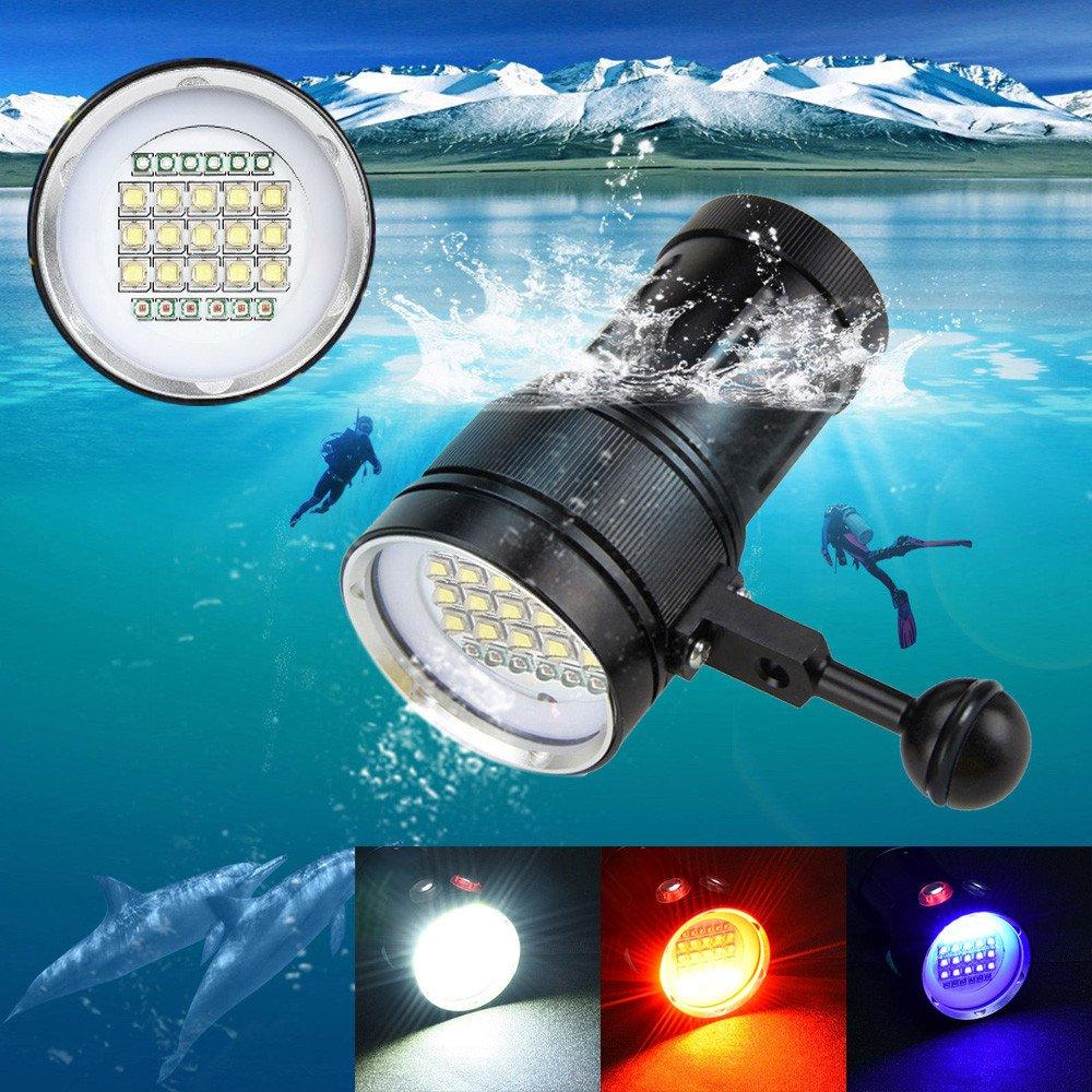Kingko Multifunktions-Unterwasser Fotografie Licht, LED Fotografie Video Tauchen Taschenlampe 15x XM-L2+6X R+6X B 12000LM Unterwasser Taschenlampe