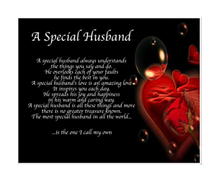 Personalised A Special Husband Poem Birthday Valentines Day Mothers