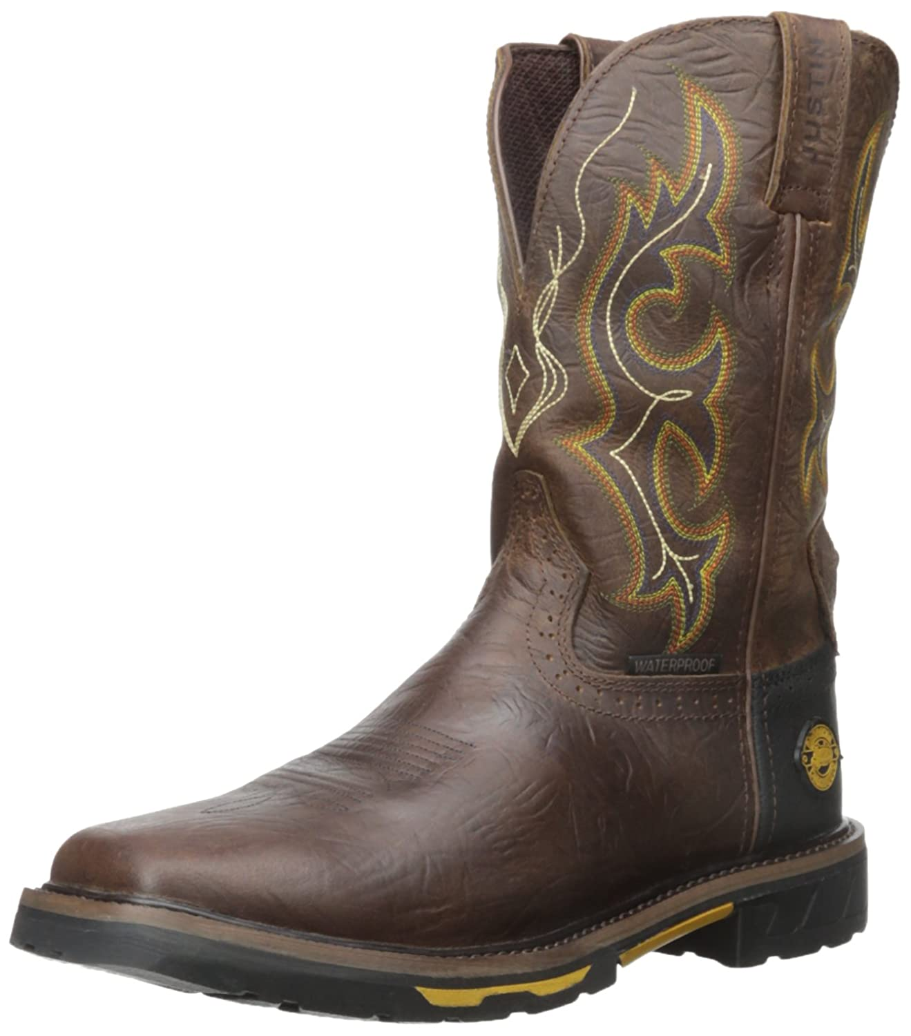 Justin Original Work Men's Rustic Barnwood Hybred Waterproof-M Workboot
