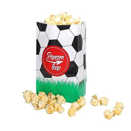 La original palomitas Loop Fútbol palomitas bolsas 10 x 6 Paquetes 60 unidades en total material de papel experiencia de cine en casa