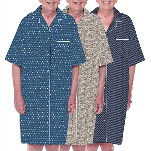 Dignidad pijama 3 unidades para hombre algodón adaptable parte trasera abierta pijamas de pacientes de Hospicio albornoz – Set de 3 color patrones: Amazon.es: Industria, empresas y ciencia