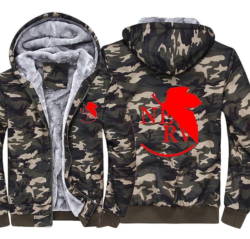 Gumstyle Neon Genesis Evangelion Anime Thicken Hoodie Sweatshirt Unisex Camo Outwear Jacket