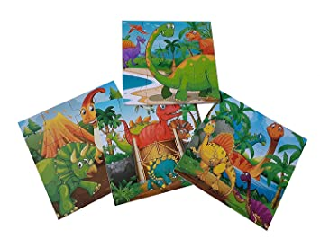 BestBuyToy Wooden Dinosaur Jigsaw Puzzle Game with Wooden Frame Set of 4 Wooden Dinosaur Puzzles