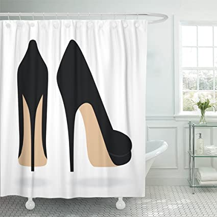 Emvency Shower Curtain With Hook Polyester Fabric Stiletto High Heel Shoes Back Woman Black Pair Female