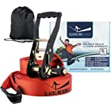 Slackline Genius Kit, Slack Line / Tension Ratchet / Tree Protectors, Core and Balance Exercise Equipment with Carry Bag
