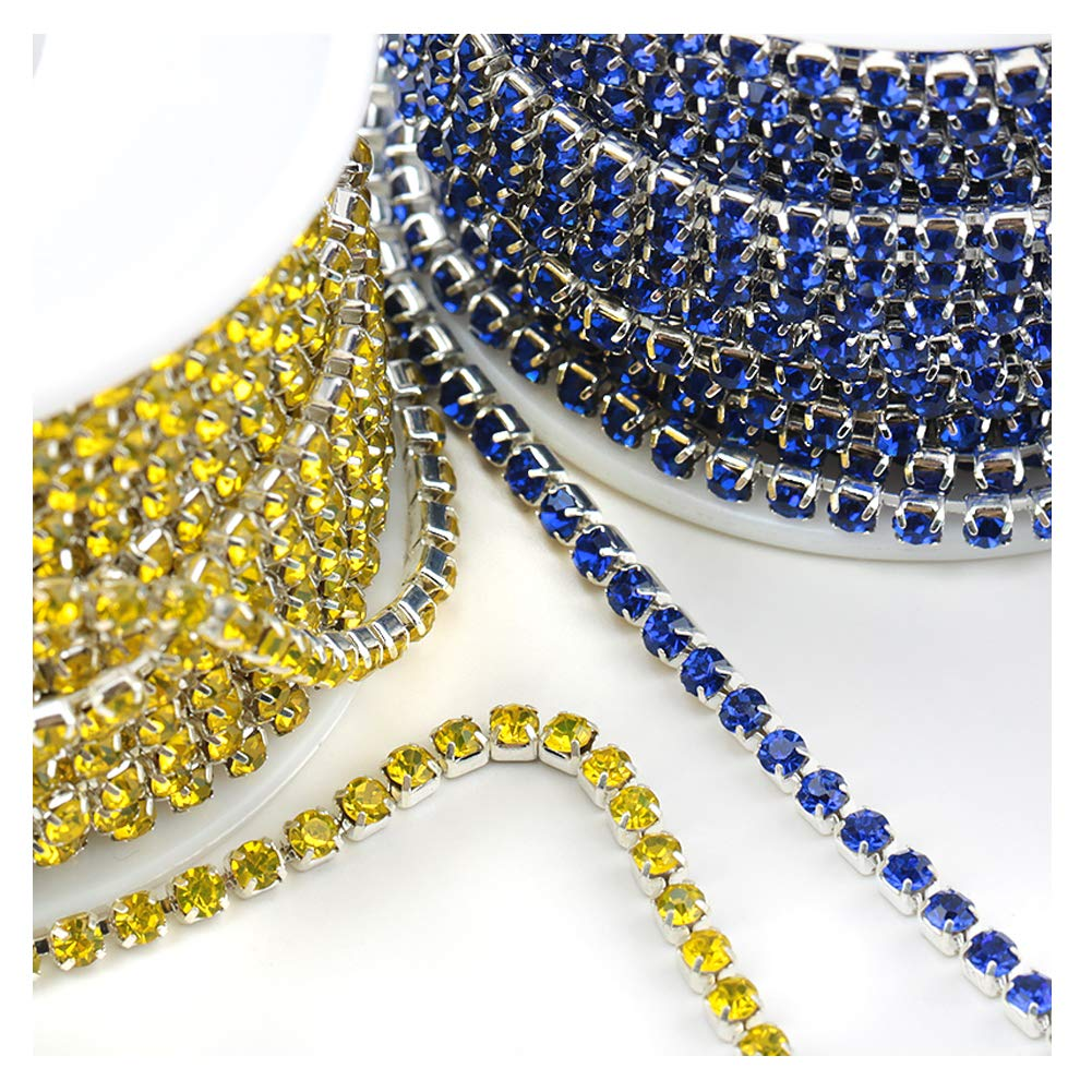 1 Roll 10 Yards Crystal Sapphire Rhinestone Trim Cup Chain Sewing Craft Silver Base Sapphire, SS6 2mm