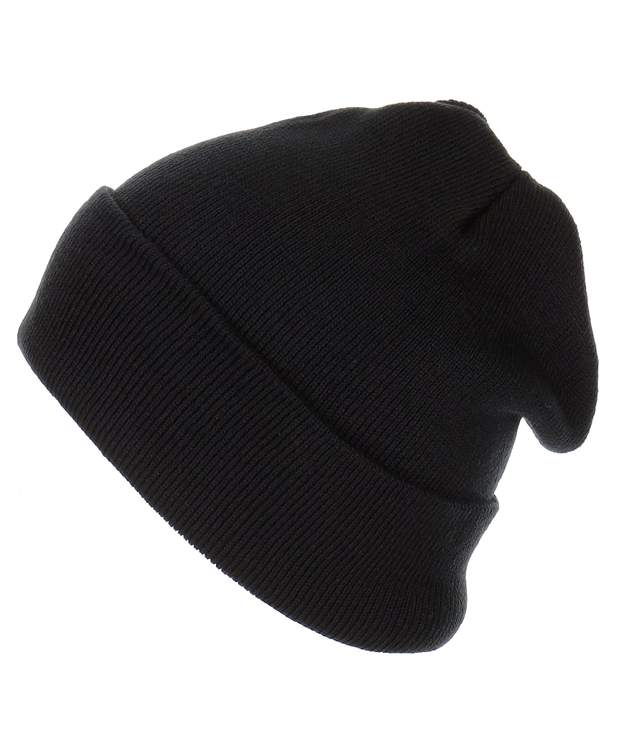Amazon.com  RufnTop Thick Plain Knit Beanie Slouchy Cuff Toboggan Daily Hat  Soft Unisex Solid Skull Cap(Black One Size)  Sports   Outdoors 0bad3b6cc1b