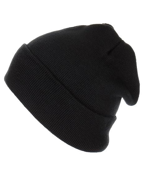 7ec3a06d511 RufnTop Thick Plain Knit Beanie Slouchy Cuff Toboggan Daily Hat Soft Unisex  Solid Skull Cap(