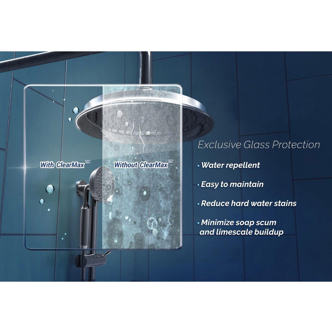 DreamLine Elegance 34-36 in. W x 72 in. H Frameless Pivot Shower ...