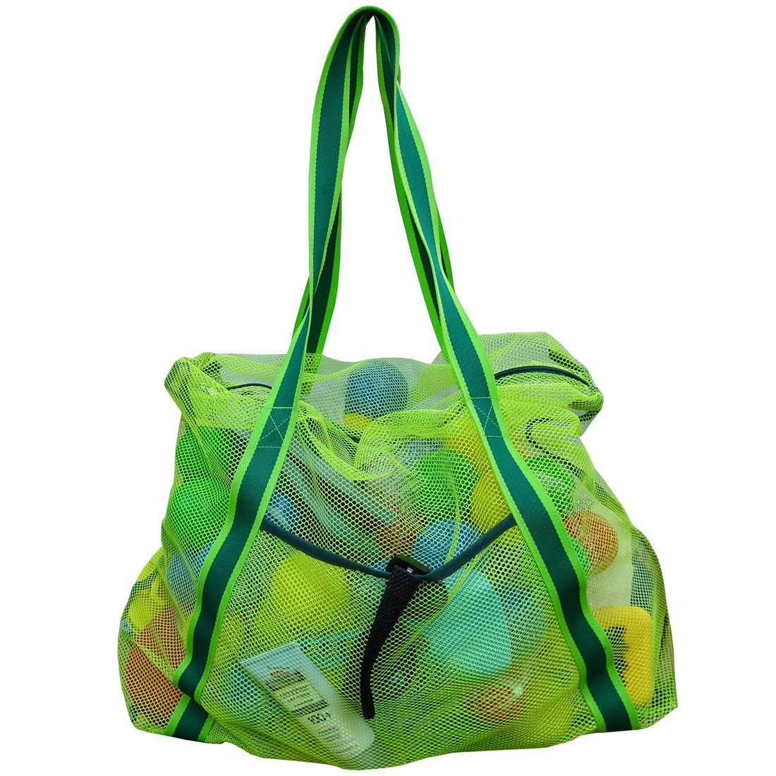 Leberna Large Mesh Beach Bag Foldable Lightweight Heavy Duty Toys Tote Bag