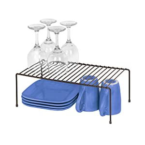 Smart Design Kitchen Storage Shelf Rack w/Plastic Feet - Steel Metal - Rust Resistant Finish - Cups, Dishes, Cabinet & Pantry Organization - Kitchen (16 x 6 Inch) (Large) [Bronze]