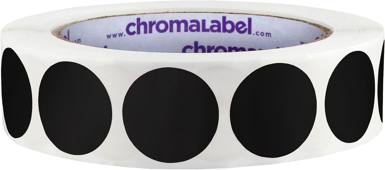 ChromaLabel 1 Inch Round Permanent Color-Code Dot Stickers, 1000 per Roll, Black