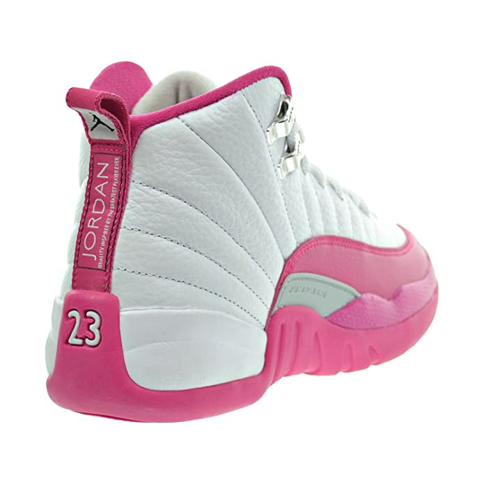 420ed893dca Amazon.com | Jordan Air 12 Retro GG Big Kid's Shoes White/Vivid Pink/Metallic  Silver 510815-109 | Sneakers