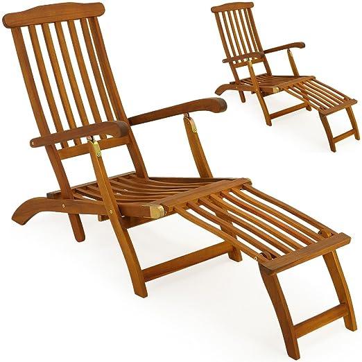 2x Hartholz Deckchair Sonnenliege Liegestuhl Holz Liege Stuhl