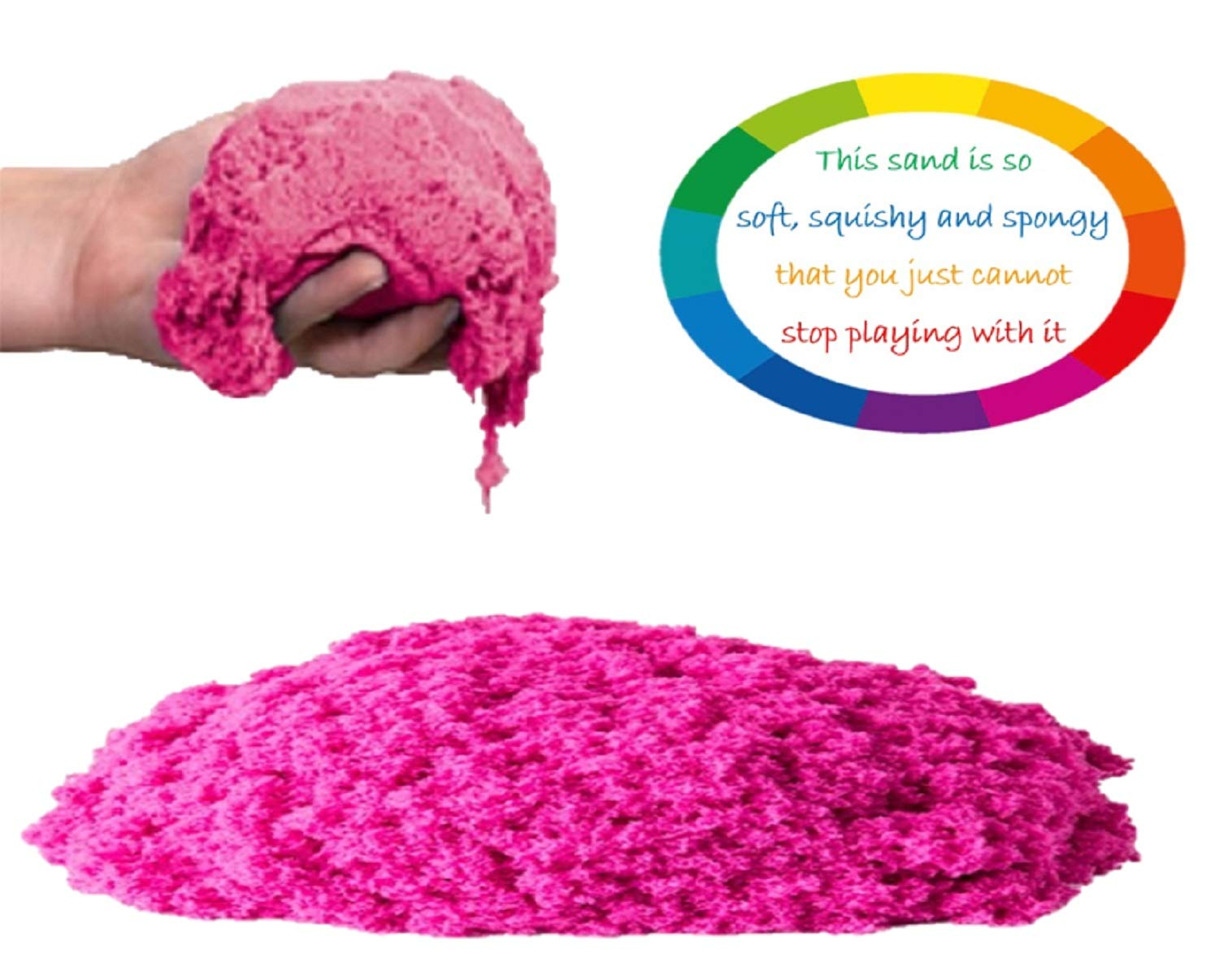 walla Play Sand (5 lbs.) | Pink Play Sand for Kids | Great Kinetic Sensory Toy for Creating Fun, Moldable Sand Art & Work On Fine Motor Skills | Bring The Beach to Your Home with Mess-Free Magic Sand by walla (Image #2)