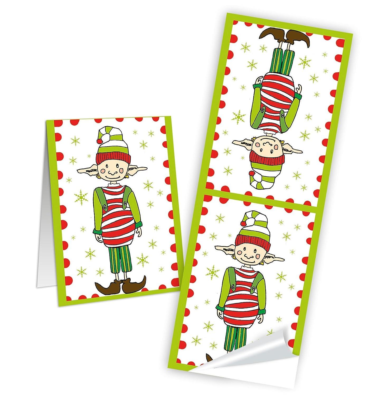 8 DIY Papiertüten Weihnachtskarten Aufkleber Weihnachtsfeier Wichteln lustig rot