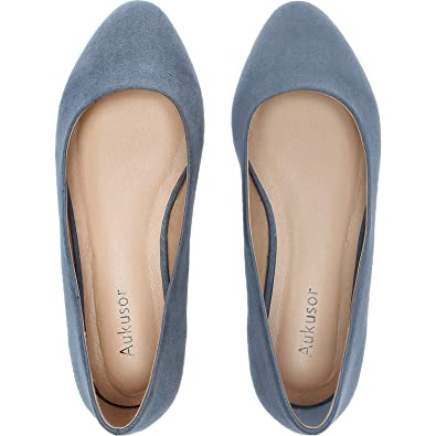 16b0a70d1b Aukusor Women's Wide Width Flat Shoes - Comfortable Classic Pointy Toe Slip  On Ballet Flat Grey